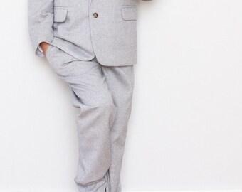 Kleinkind Jungen grau Tweed Kinder Hose Chino Hose Anzughose Taufanzug  Ringträger Kinder Anzug lange Hose 20c91da36b