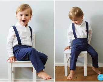 2 teiliges Outfit  blaue lange Hose mit Träger + weißes Leinenhemd Jungen  Baby Ringträger Outfit Hosenträger Taufanzug Hochzeit Kommunion 46edaf527c