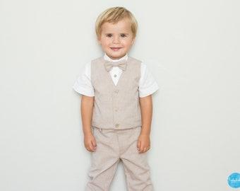 4 teiliges Set  lange Hose + weißes langarm oder kurzarm Hemd + Weste +  Fliege - Jungen Taufanzug Ringträger Blumenkinder bef766cf04