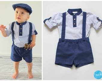 2 teiliges Outfit  marineblaue kurze Leinenhose mit Trägern + blau weiß  gestreiftes Hemd Baby Jungen Taufe Anzug Ringträger Hochzeit 14615577de