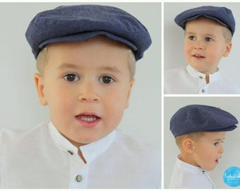 Boys flat hat Newsboy hat Infant boy linen flat hat Ring bearer hat Newsboy  Cap Photo Toddler hat Page boy flat cap Boys linen flat hat 7a5cade0fb5