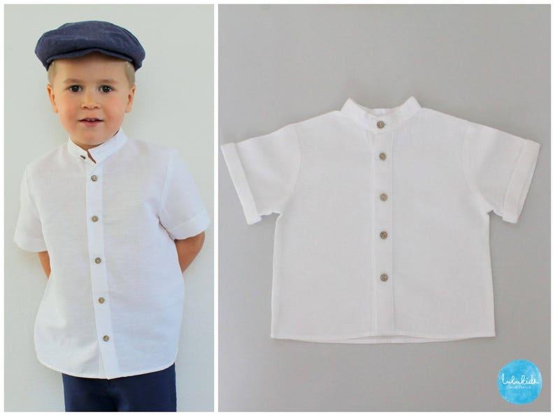 short sleeve shirt linen boy baby baptism christening gown ring bearer birthday festive outfit comunion confirmation shorts bermudas linen