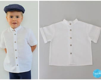 toddler white linen shirt baby boy shirt toddler short-sleeved linen shirt with stand-up collar christening outfit boy