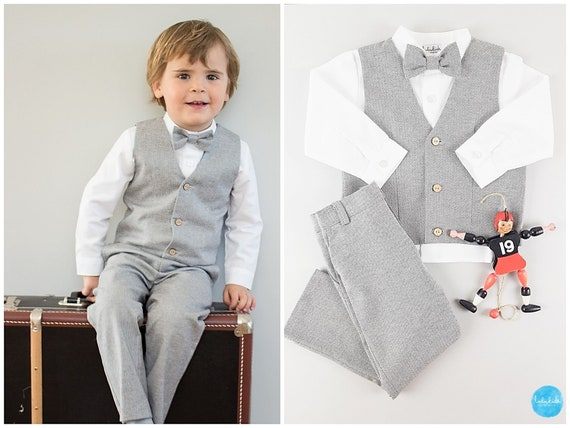 ringbearer suit page boy suit wedding party outfit baby boy christening toddler boy suit white stand up collar shirt toddler bow tie
