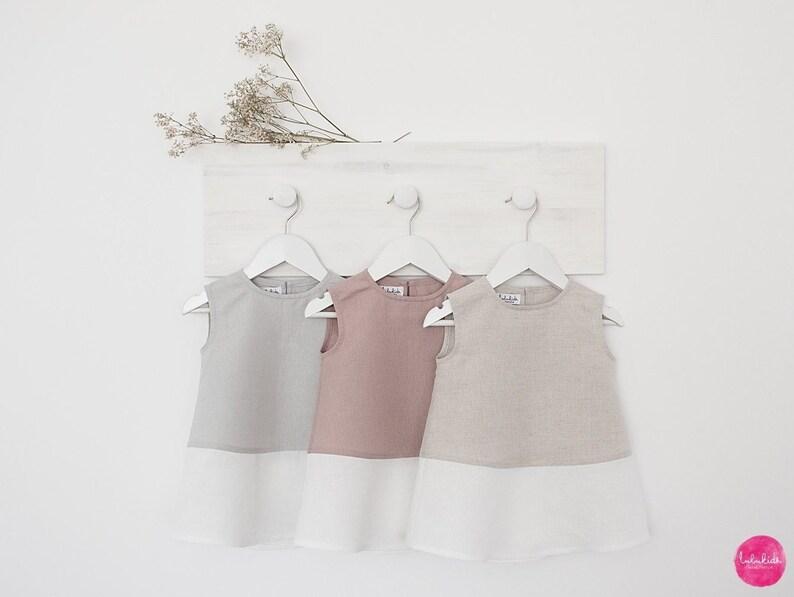 Baby Mädchen Leinenkleid Outfit Taufe Vintage Festliches Kleid Babykleid Festkleid Hochzeit Blumenkinder Einschulung 1 Geburtstag