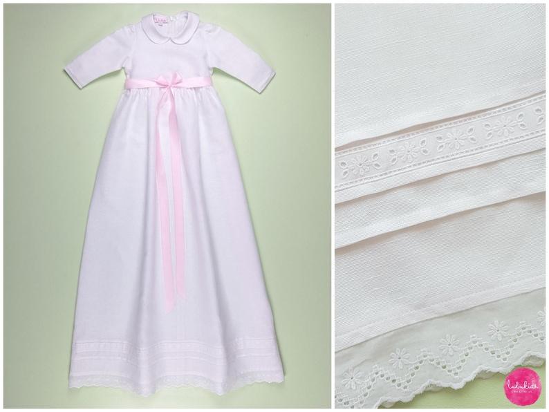 94e9e972ad White long long lango linen baptisme dress with underdress