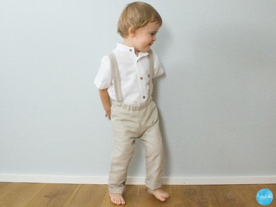 Set jongensbaby overhemd en broek met bretels ivoor, Baby