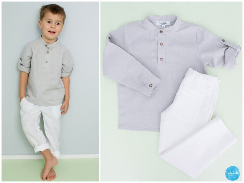 603cc12a71 2 piece outfit  Long white linen pants linen shirt grey