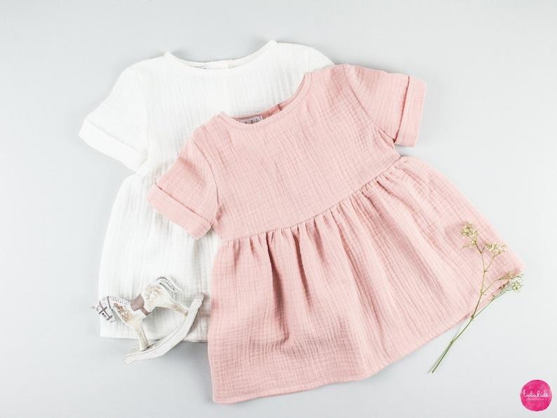 7e3ed13c266be1 Baby Mädchen Musselin rosa Kleid Tunika Musseline Baumwolle | Etsy