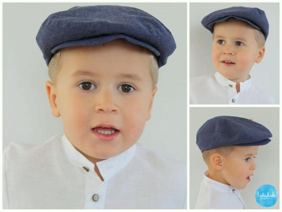 Boys flat hat Newsboy hat Infant boy linen flat hat Ring  5ab2b8feb244