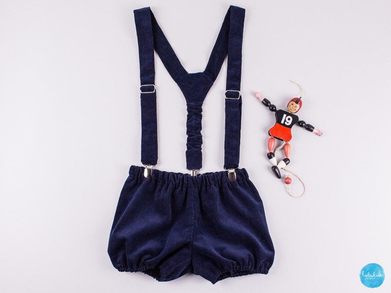 5ac4756cd6f Christening outfit baby boy navy blue suspender shorts white