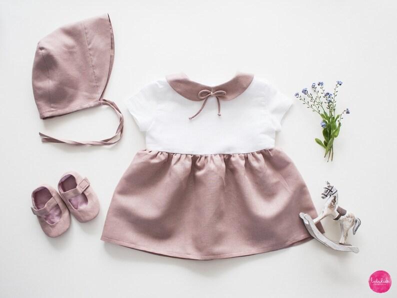 dbccc8f8d13ee6 Baby Mädchen altrosa Leinenkleid Bubikragen Schleife Outfit
