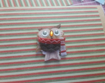 Festive  Owls (set of 4) Rustic/Old fashioned/Winter/Holidays/Coworkers/Family/Friends/Teacher