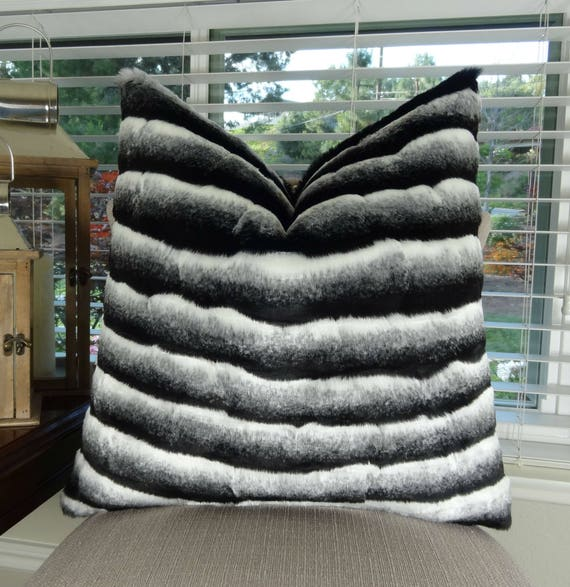 Black White Chinchilla Faux Fur Throw Pillow Cover Black Etsy