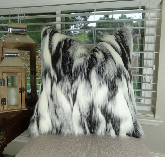 Gray Black White Faux Fur Throw Pillow Tibet Fox Fur Pillow Etsy