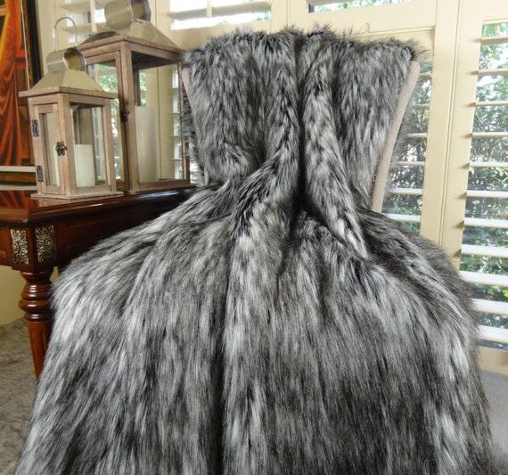 Gray Faux Fur Blanket Exotic Siberian Husky Faux Faur Throw Etsy