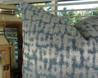 Silver Blue Throw Pillow Cover - Designer Silver Blue Metallic Pillow - Silver Throw Pillow - Blue Pillow - PillowsAndAccents - 11427