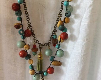 Semi Precious Stones And Removable Tassel Necklace