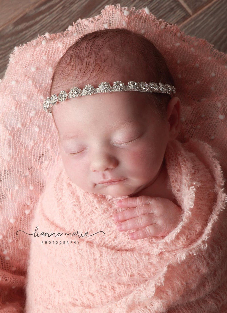Rhinestone diamante headband christening wedding communion photo prop baby girl