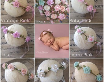 Newborn Baby Little Girl Handmade Flower Headband Halo Woodland Crown Tieback Photography Photo Prop Wedding Flower Girl Choice of 7 colours