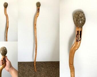 Michigan Hardwood and Petoskey Stone Walking Stick CUSTOM/PRE-ORDER