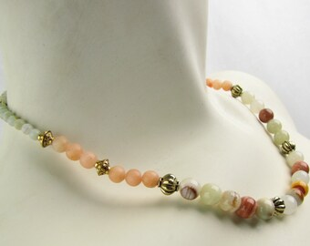 Onyx, Aventurine and Marble Necklace | Beaded | Original | Multi Colored-OnyxLight | Peach-Marble | Mint-Aventurine | Gold Tone | 17""