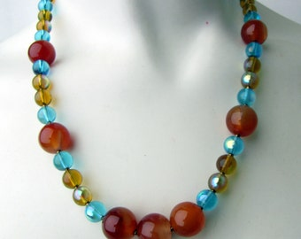 "Amber Onyx Necklace ~ Blue and Amber Glass Beads ~ 19"" Length ~ Original ~ Handmade"