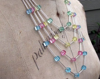 Beautiful Necklace | Original Handcrafted | Four Strand | Pastel Crackle Square Glass Beads | Aqua, Pink, Yellow, Green |
