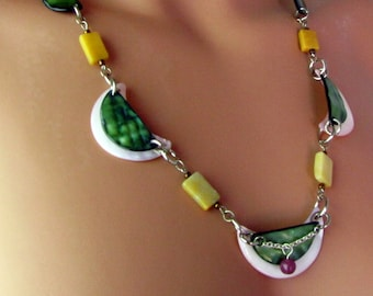 Mother of Pearl ~ Shell Necklace ~ Half Moons ~ Pink and Green ~ Honey Marble ~ Silver Tone Chain ~ Original