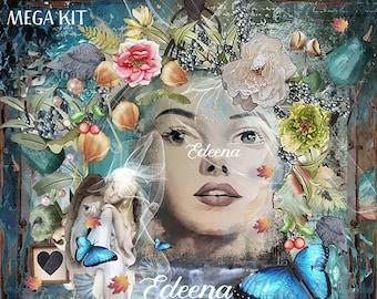 Edeena {PERSONAL USE} Digital Scrapbook MEGA Kit Fantasy Scrapbook-Magical Scrapbook-Fantasy-Water-Prop-Digital Backdrops-Fractals-Spring