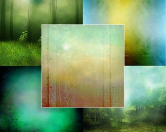 Digital Scrapbook - Friendly Magic Giant Backgrounds - Fantasy - Magical - Papers - JPG - Artistic - Fantasy Art - Fairytale