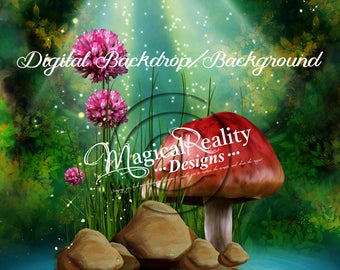 Digital Photography Backdrop - Digital Background-Digital Fantasy Background - Fairytale Background - Magical Background - Magic Pond Fairy