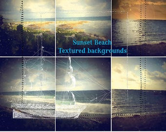 Commercial Use 3125x4167 Textured Sunset Beach Backgrounds- Digital Scrapbooking-Digital Graphics-Grunge Papers-Textured Papers-Photoshop