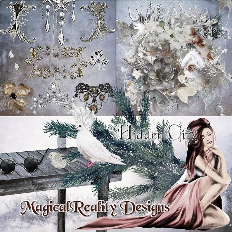 Christmas Scrapbook Kit Winter Christmas Magical Digital Scrapbook -Christmas clipart -Photoshop Overlays Hidden City Fantasy Clipart