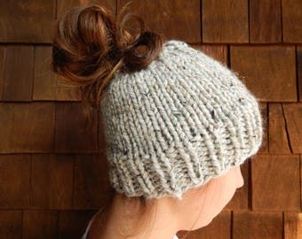 Ponytail Headband, Messy Bun Hat, Knit Pony Tail hat in Gray Marble