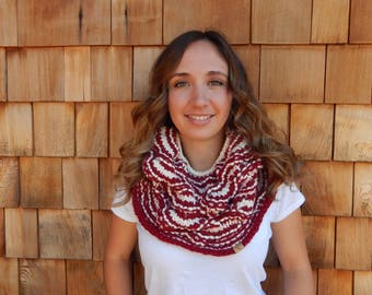 Neck Warmer Knitted Cowl Infinity Scarf Cranberry and Cream Scarf