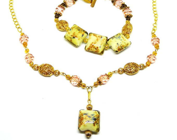 """Three Piece Set - """"Gold and Roses"""""""