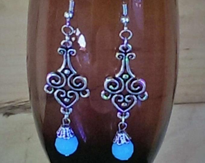 Timeless Blue Swarovski Scrollwork Dangle Earrings