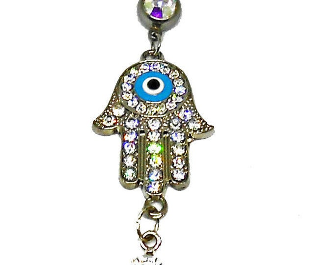 Hamsa and Pearl Belly Button Ring