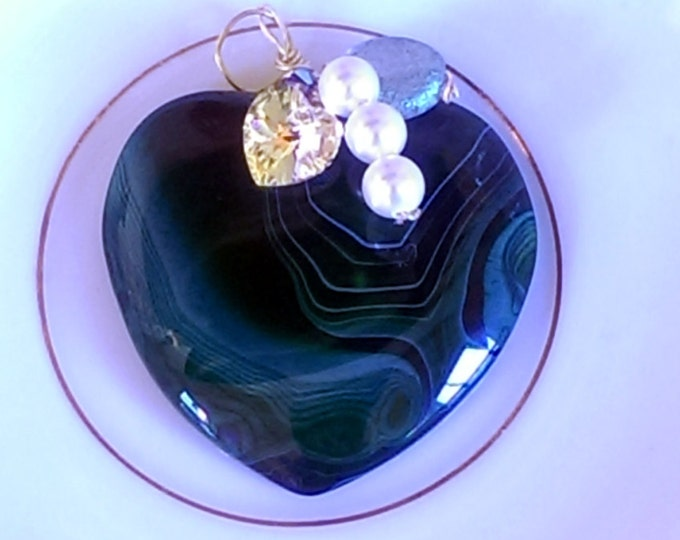 Dark Forest Green Agate Heart Pendant With Crystals And Pearls