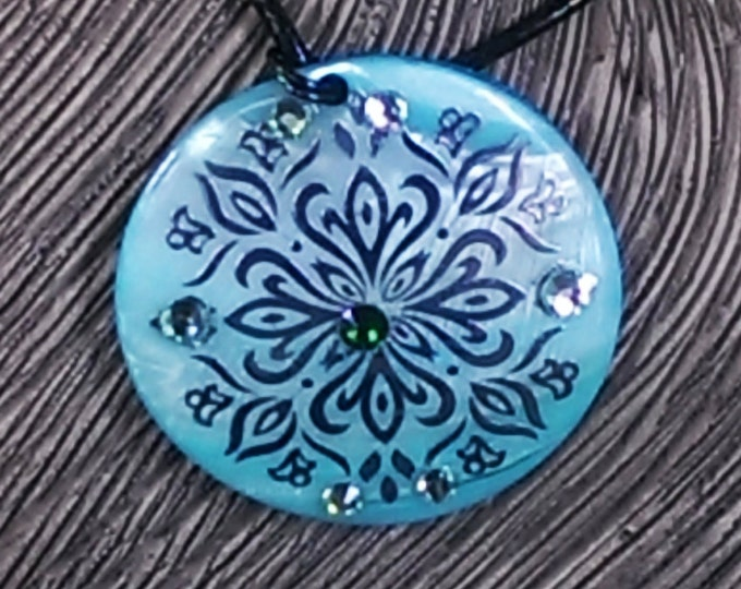 Lovely Ornate Shell Pendant with Swarovski Crystals