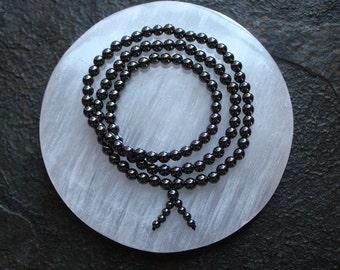Hematite Gemstone Mala Bracelet or Necklace,