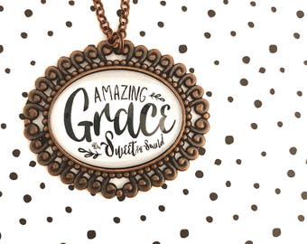 Ornate Amazing Grace Inspirational Pendant Tray necklace