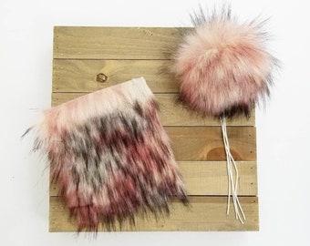 DIY Square, Nymph Luxury Fur, Pink/Peach Mix Long Pile Faux Fur