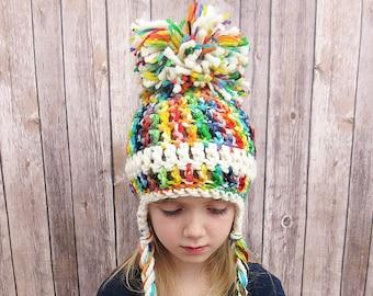 6fbe27a1594 Rainbow Pom Pom Hat
