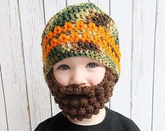 Camouflage Striped Beard Crochet Hat, Baby beard hat