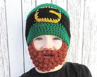 St. Patrick's Day Beard Crochet Hat, Leprechaun bobble beard hat