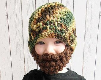 Camouflage Beard Crochet Hat, Baby beard hat