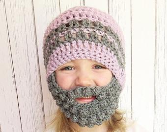 Custom Girl's Beard Crochet Hat, Bobble beard hat, Baby beard hat, Infant beard hat
