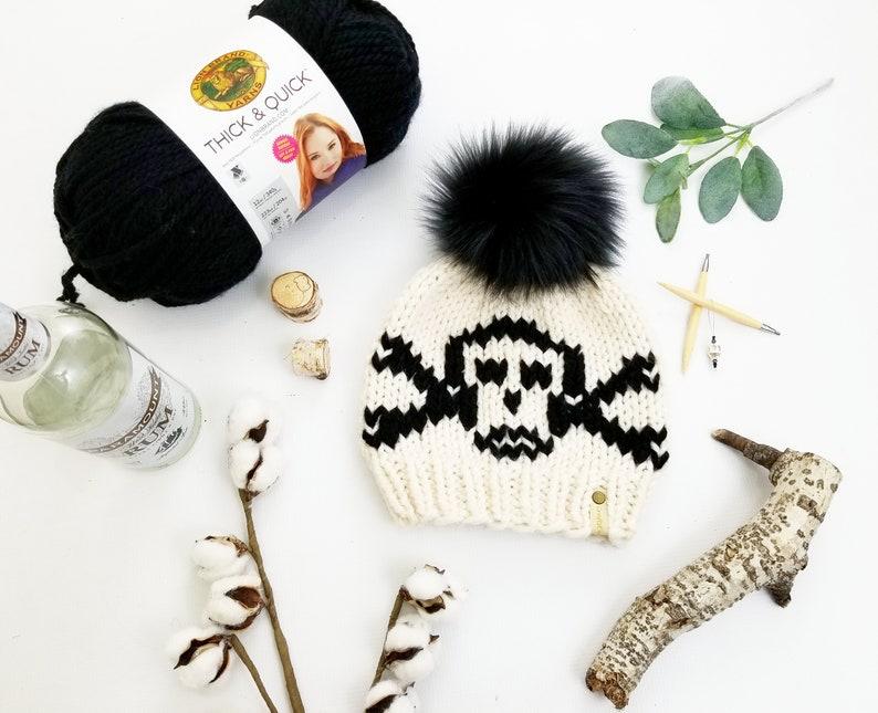 Pirate Hat Pattern Knit Pattern Skull Hat Jolly Roger Beanie Knit Hat Pattern